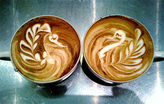 Coffee Foam Art  Swans